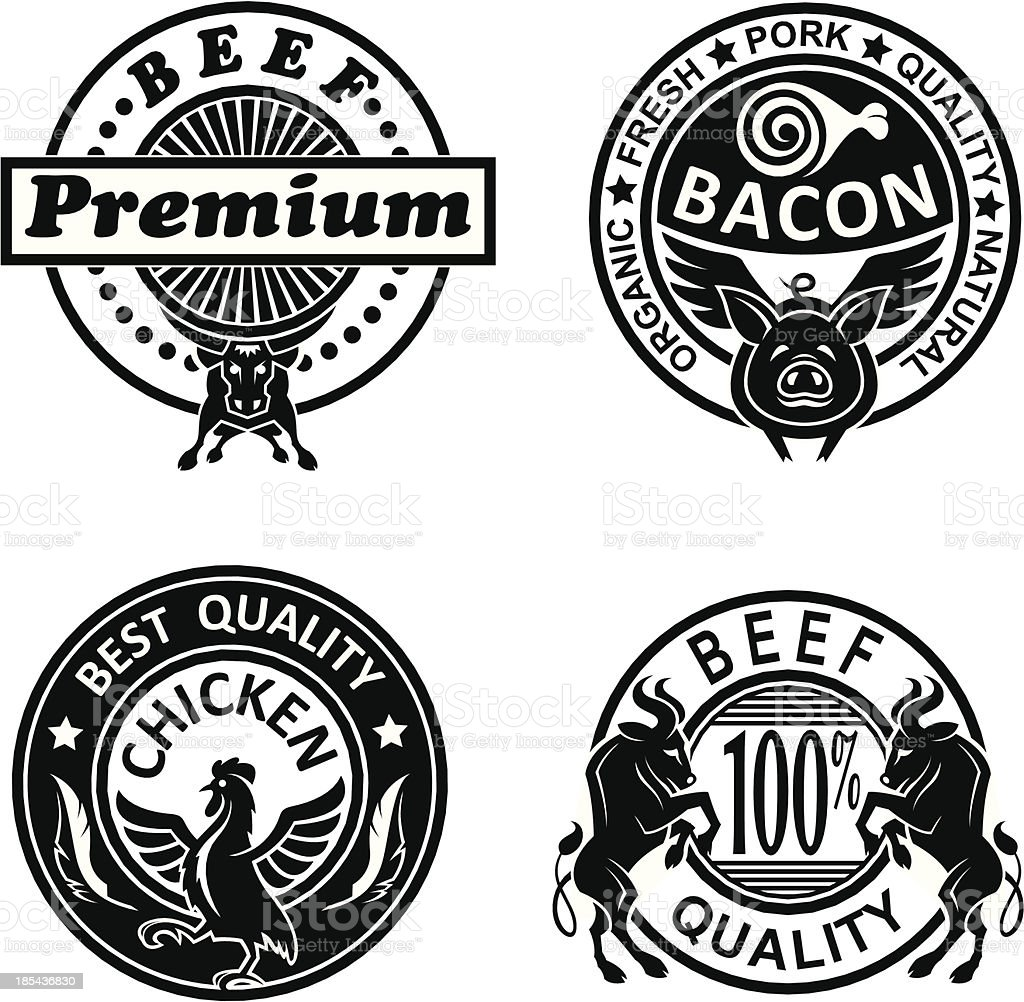 Black and white grill label icons vector art illustration