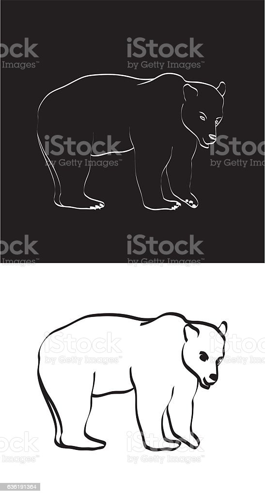 Black and White Grizzly Bear vector art illustration