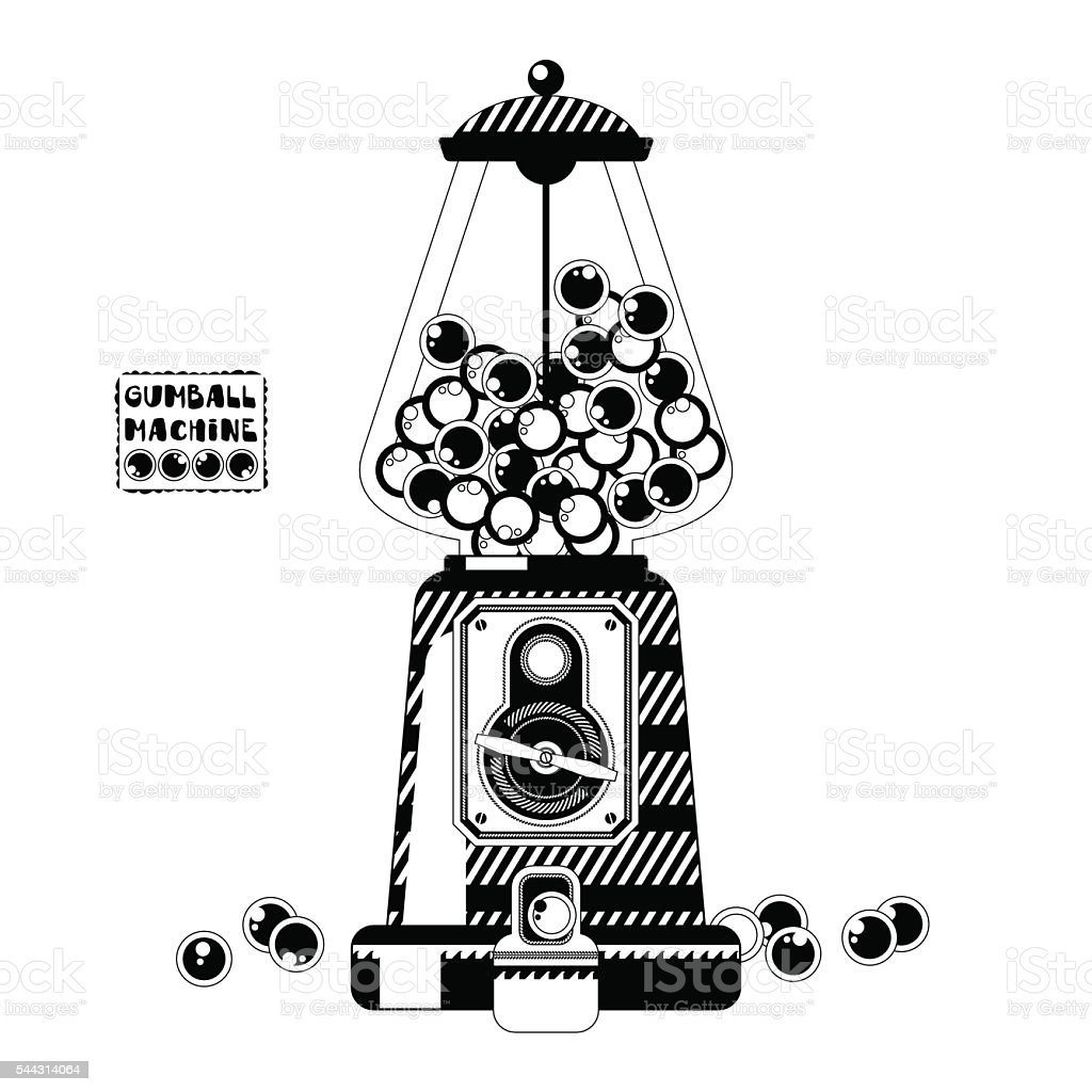 Black and white gumball machine. vector art illustration