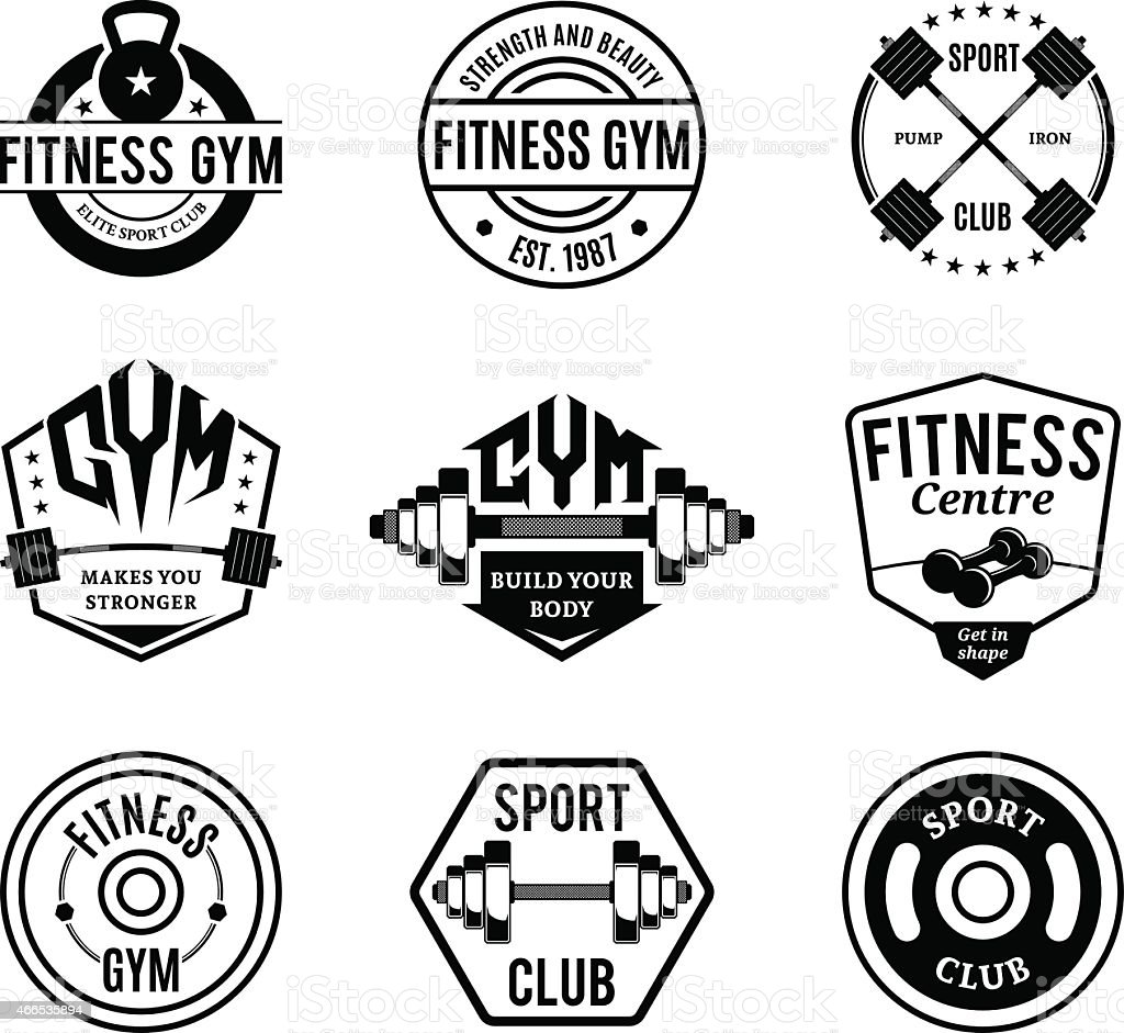 Black and White Gym and Fitness Logotypes, Labels and Badges vector art illustration
