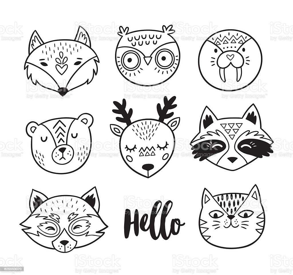 Black and white hand drawn doodle animal faces. Line art vector art illustration