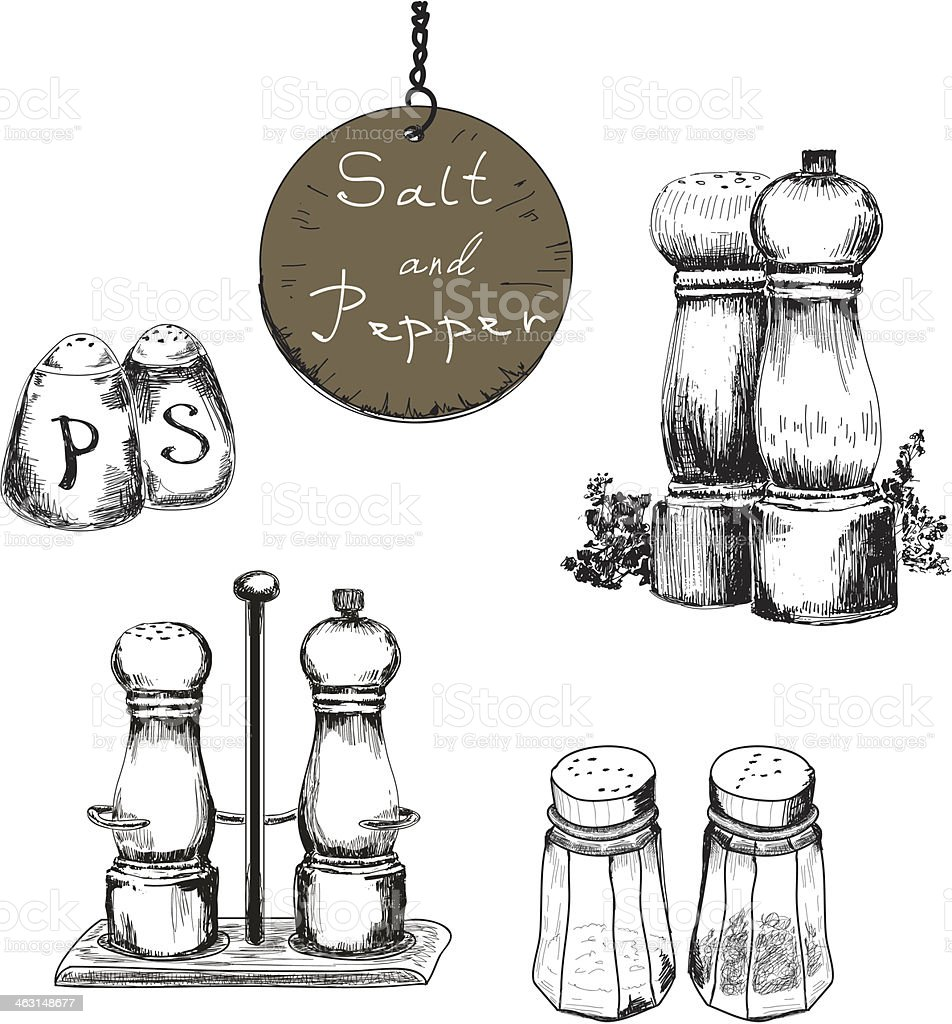 Black and white hand drawn salt and pepper shakers vector art illustration