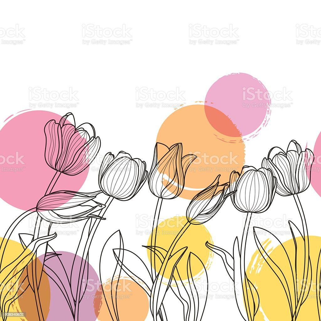 Black and white hand drawn tulip flowers and watercolor blots. vector art illustration