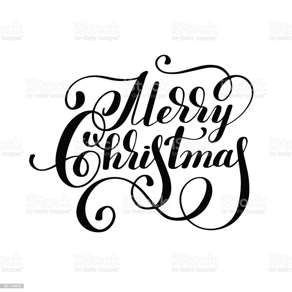 black and white hand lettering inscription merry christmas stock