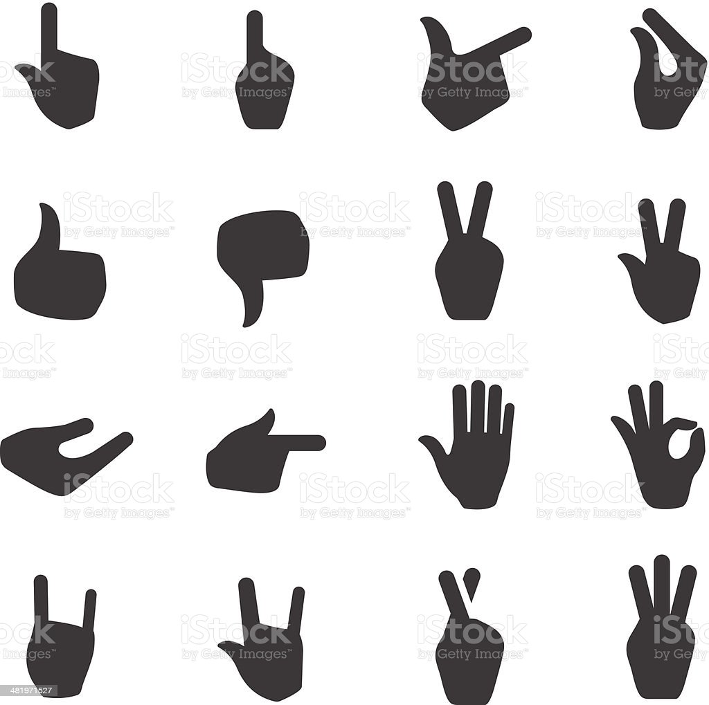 Black and white hand signal icons vector art illustration
