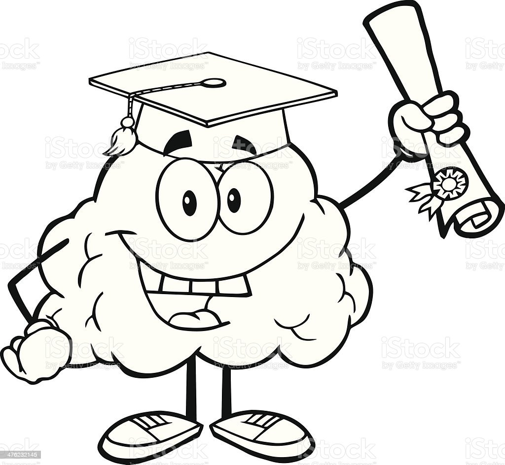 Black and White Happy Brain Graduate Holding up A Diploma royalty-free stock vector art