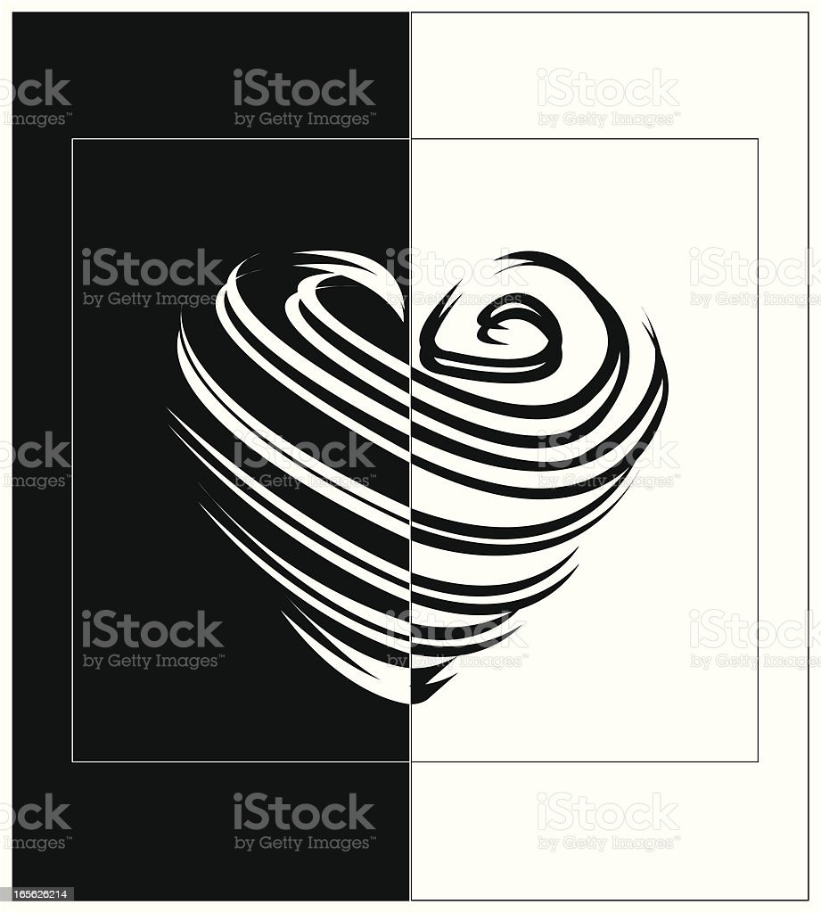 Black and White Heart royalty-free stock vector art