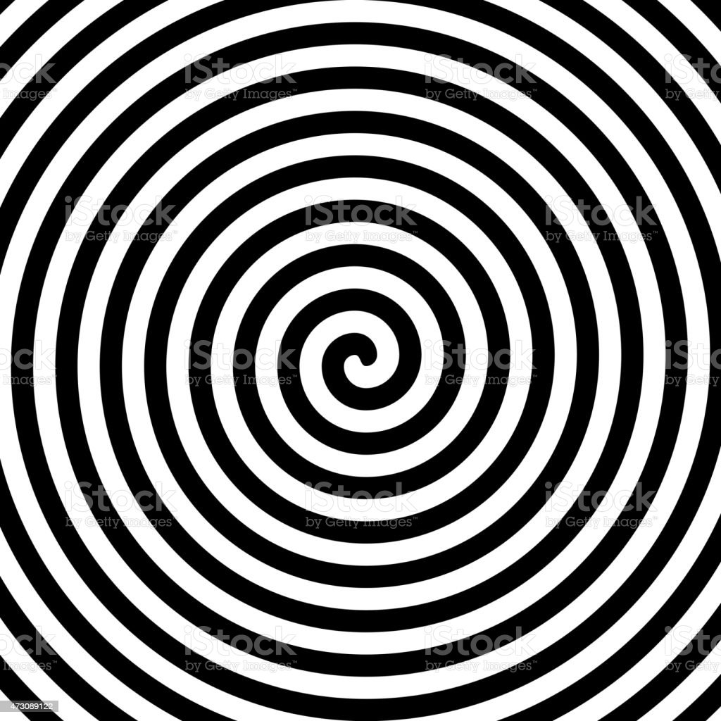 Black and white hypnosis spiral vector art illustration