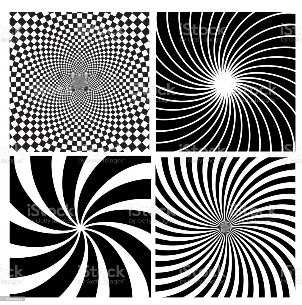 Black and white hypnotic background. royalty-free stock vector art