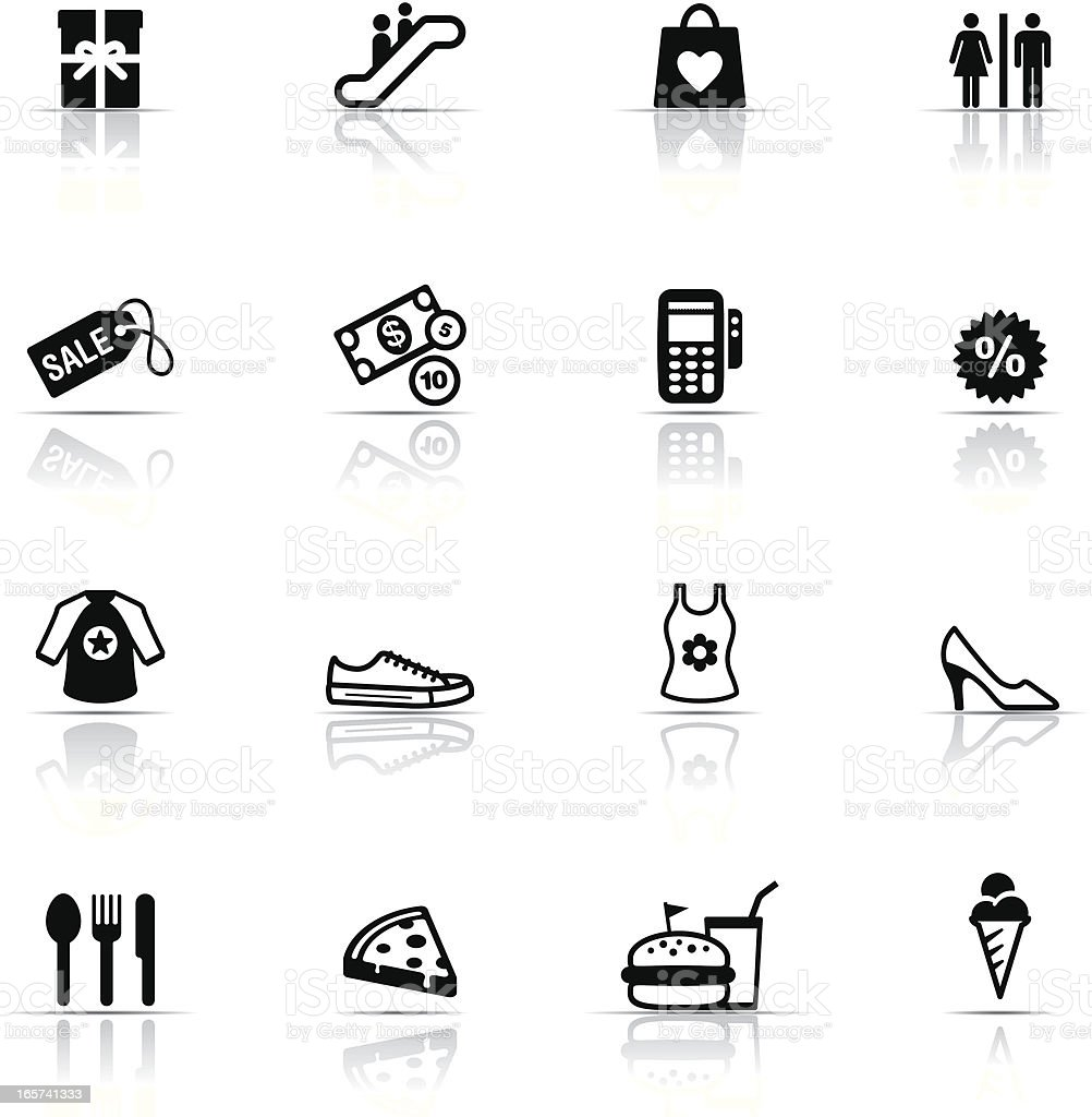 Black and white icon set of shopping mall vector art illustration