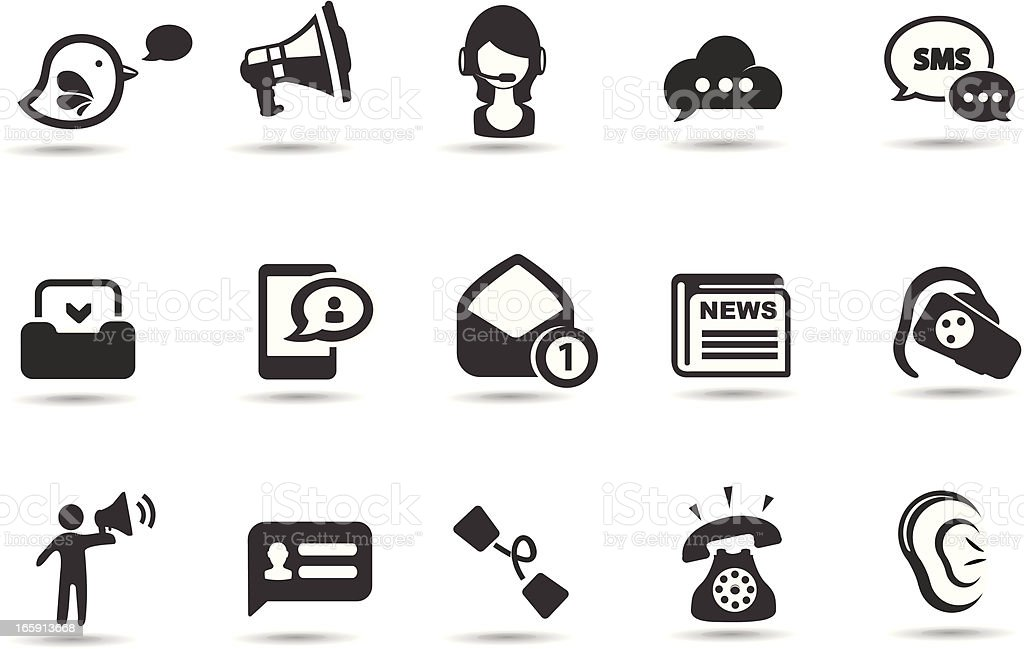 Black and white icons indicating communication vector art illustration