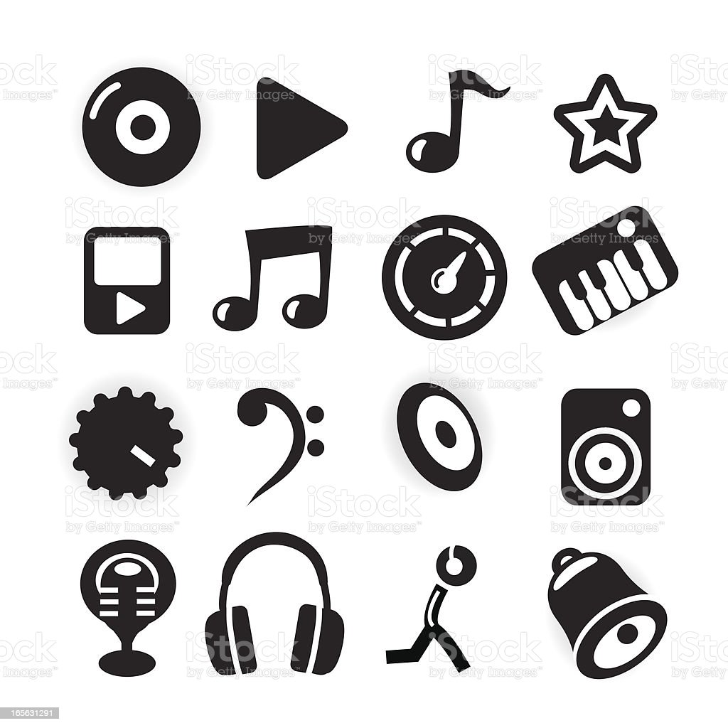 Black and White Icons - Music royalty-free stock vector art