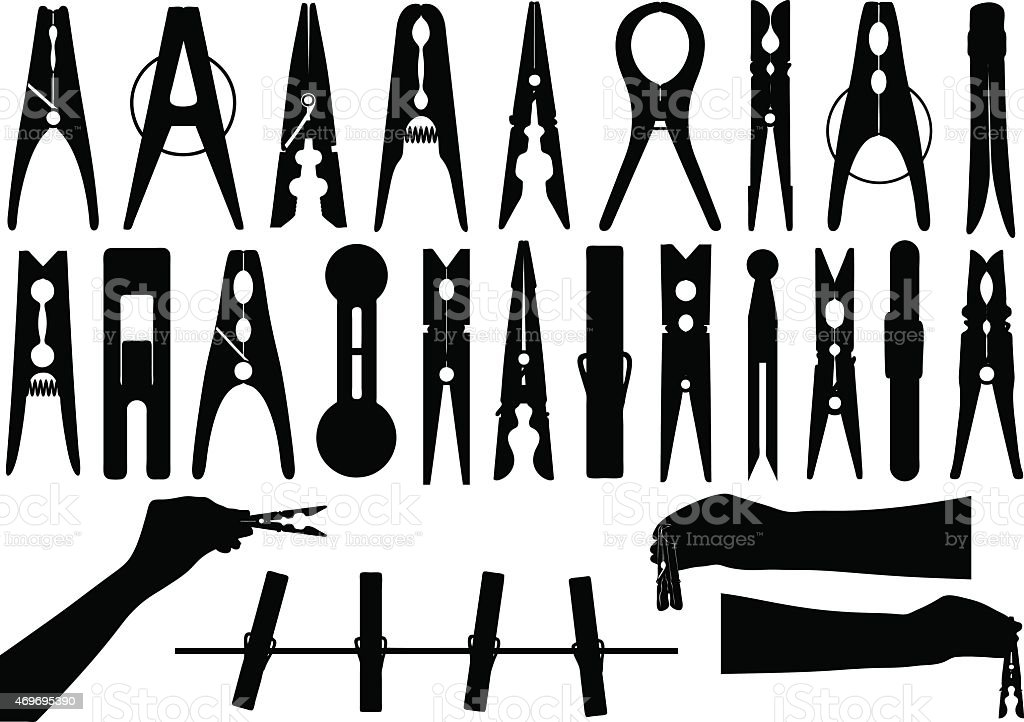 Black and white icons of clothespins vector art illustration