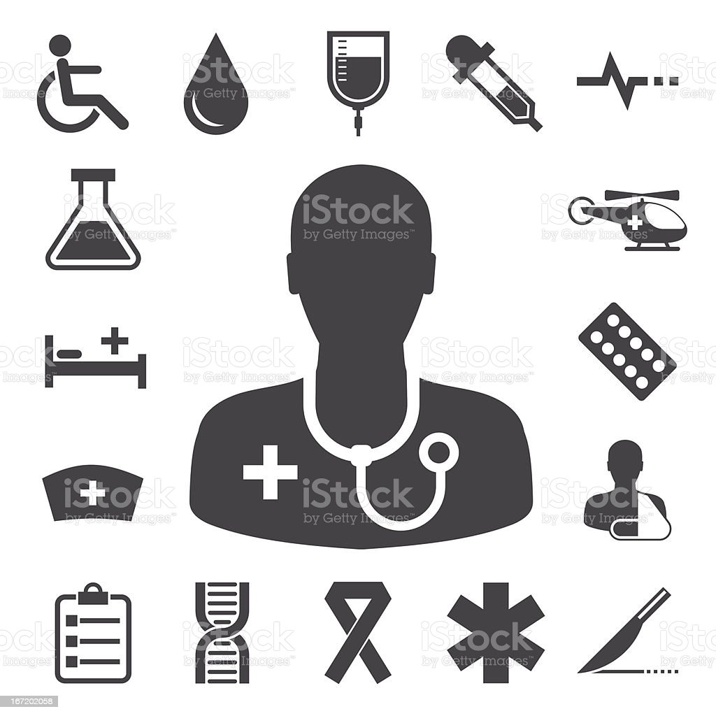 Black and white icons on health and medicine topic royalty-free stock vector art