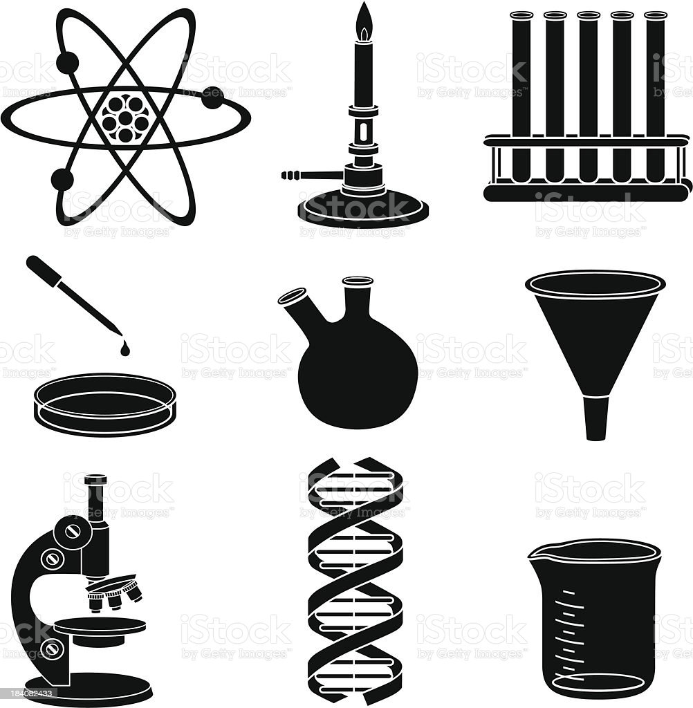 Black and white icons representing science basics  royalty-free stock vector art