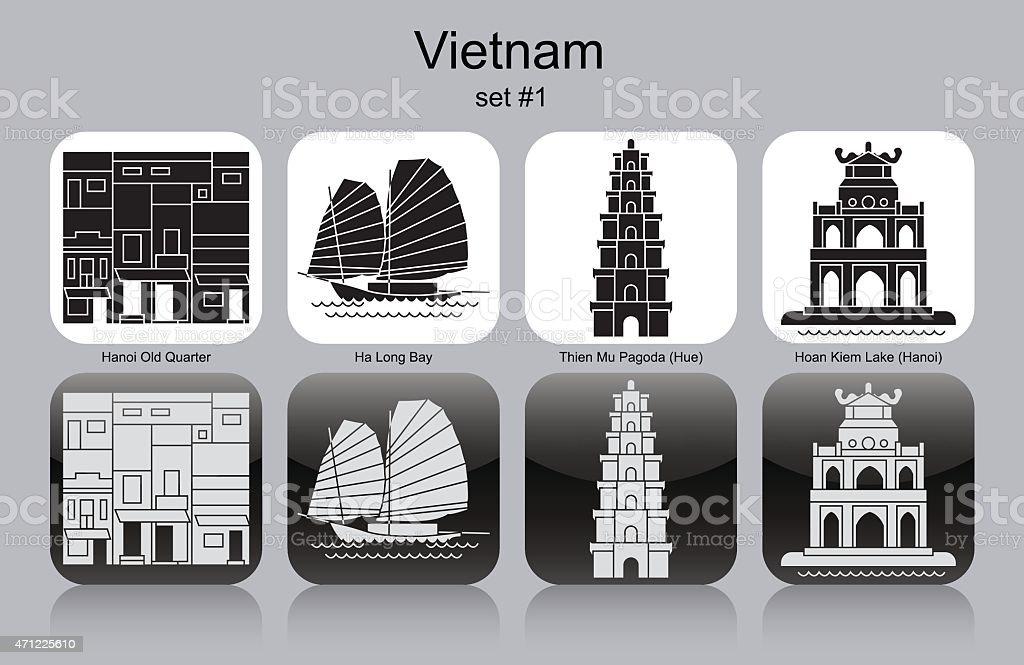 Black and white icons representing Vietnam vector art illustration