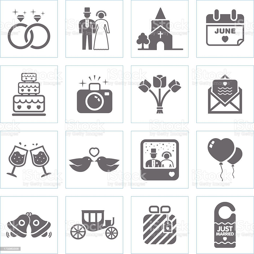 Black and white icons representing weddings vector art illustration