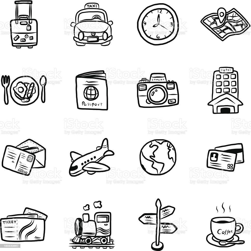 Black and white illustrated travel symbols royalty-free stock vector art