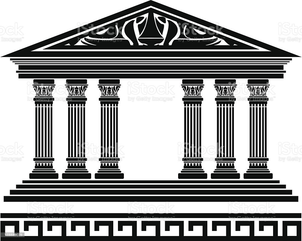 A black and white illustration of a fantasy temple vector art illustration