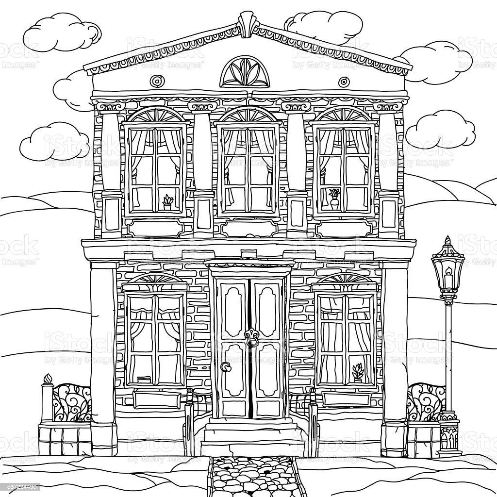 Haus clipart schwarz weiß  Schwarzweiß Abbildung Eines Einem Haus Vektor Vektor Illustration ...
