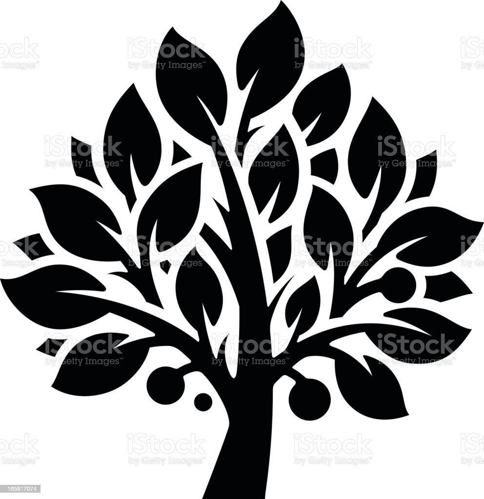 Black and white illustration of a large fruit tree royalty-free stock vector art