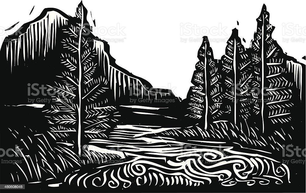 Black and white illustration of a mountain landscape vector art illustration