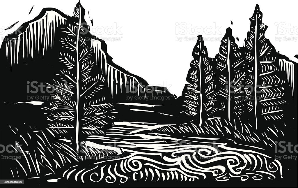 Black and white illustration of a mountain landscape vector art illustration