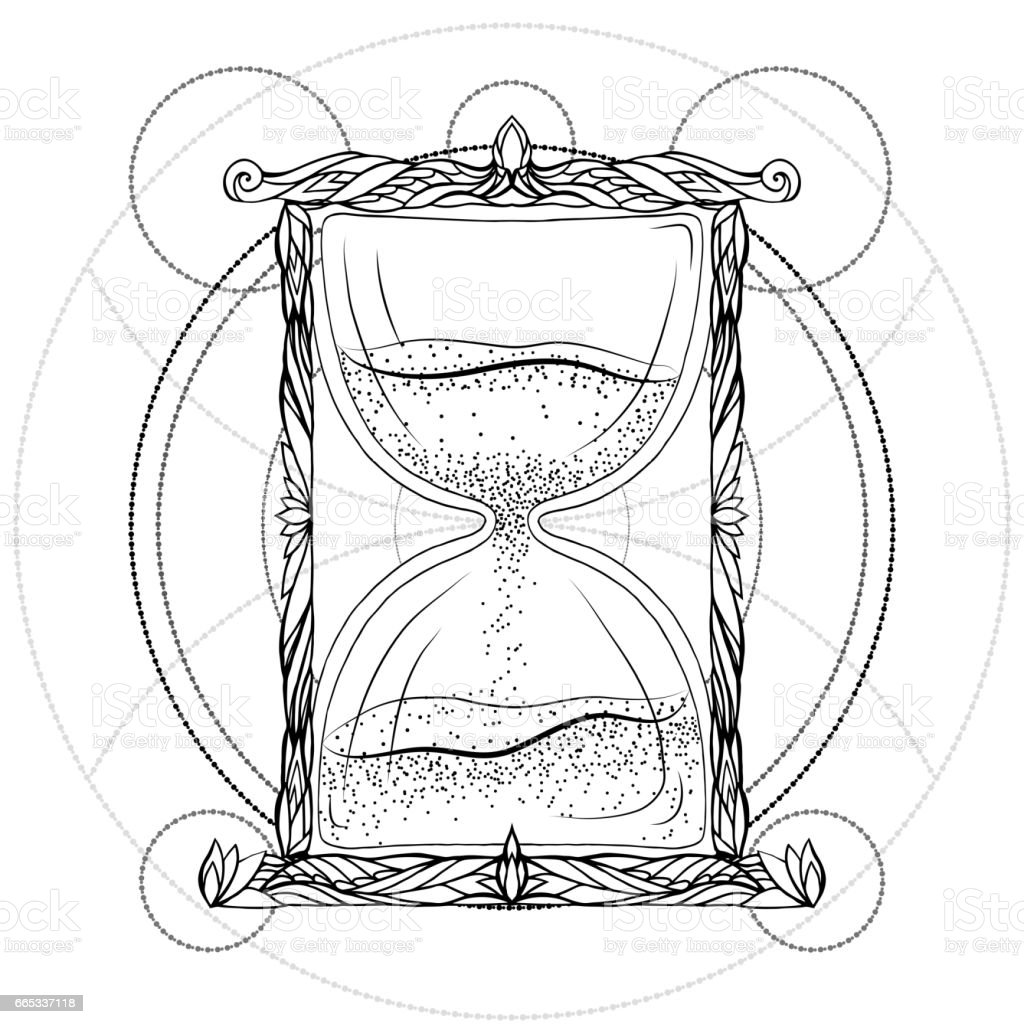 Black and white illustration of an hourglass with a doodle pattern. Vector element for printing on T-shirts, phone cases, postcards, sketch of tattoos and your design vector art illustration
