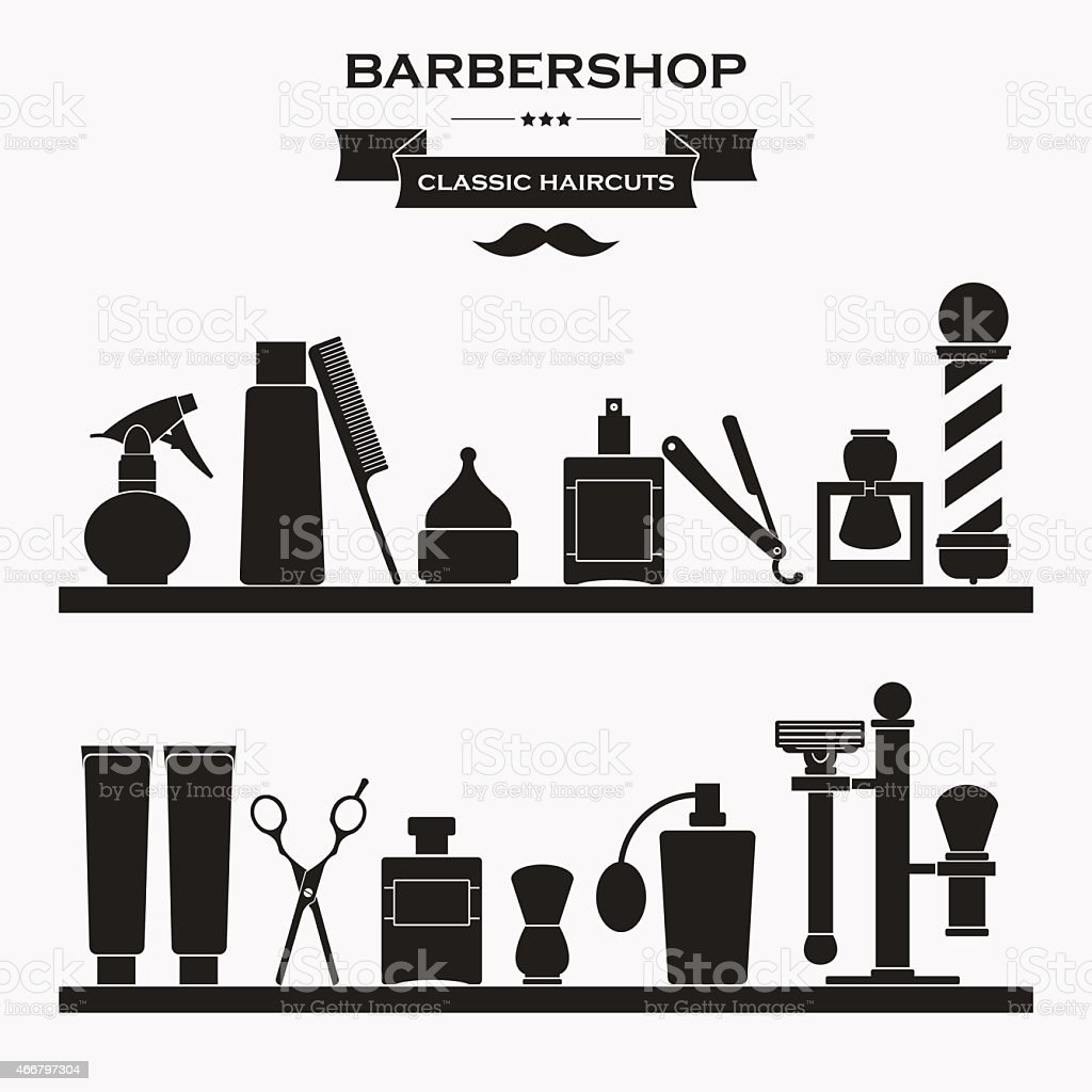 Black and white illustration of barbershop items vector art illustration