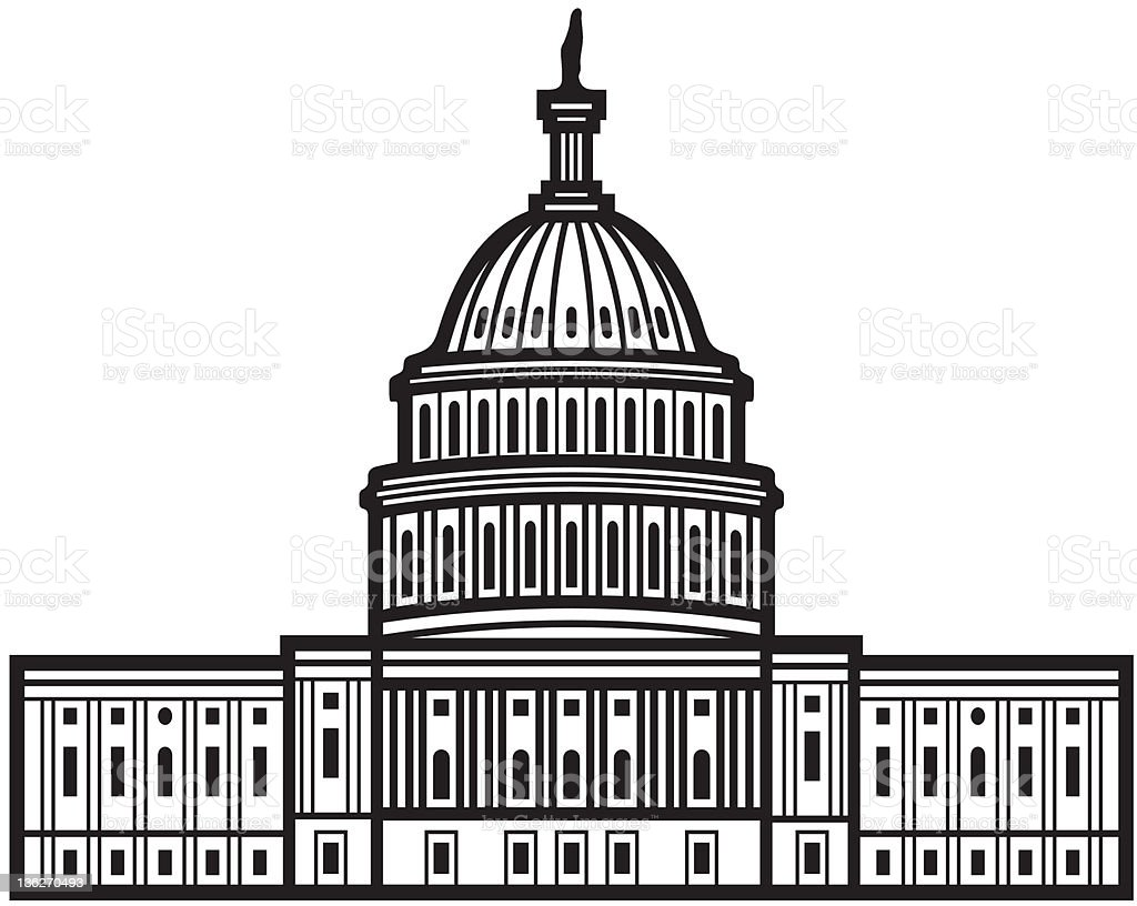 Black and white illustration of the United States Capitol royalty-free stock vector art