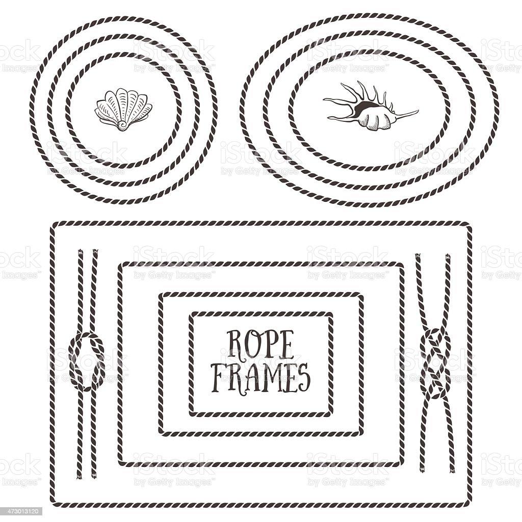 Black and white illustrations of different rope frames vector art illustration