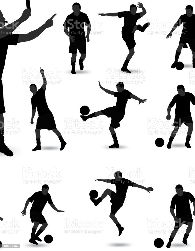 A black and white image of a man playing soccer royalty-free stock vector art