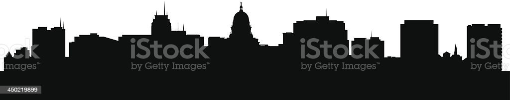 A black and white image of the Madison Wisconsin skyline vector art illustration