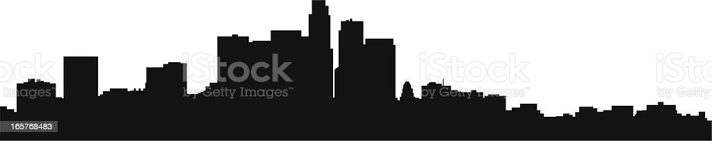 Black and white image of the shadow of Los Angeles Skyline vector art illustration