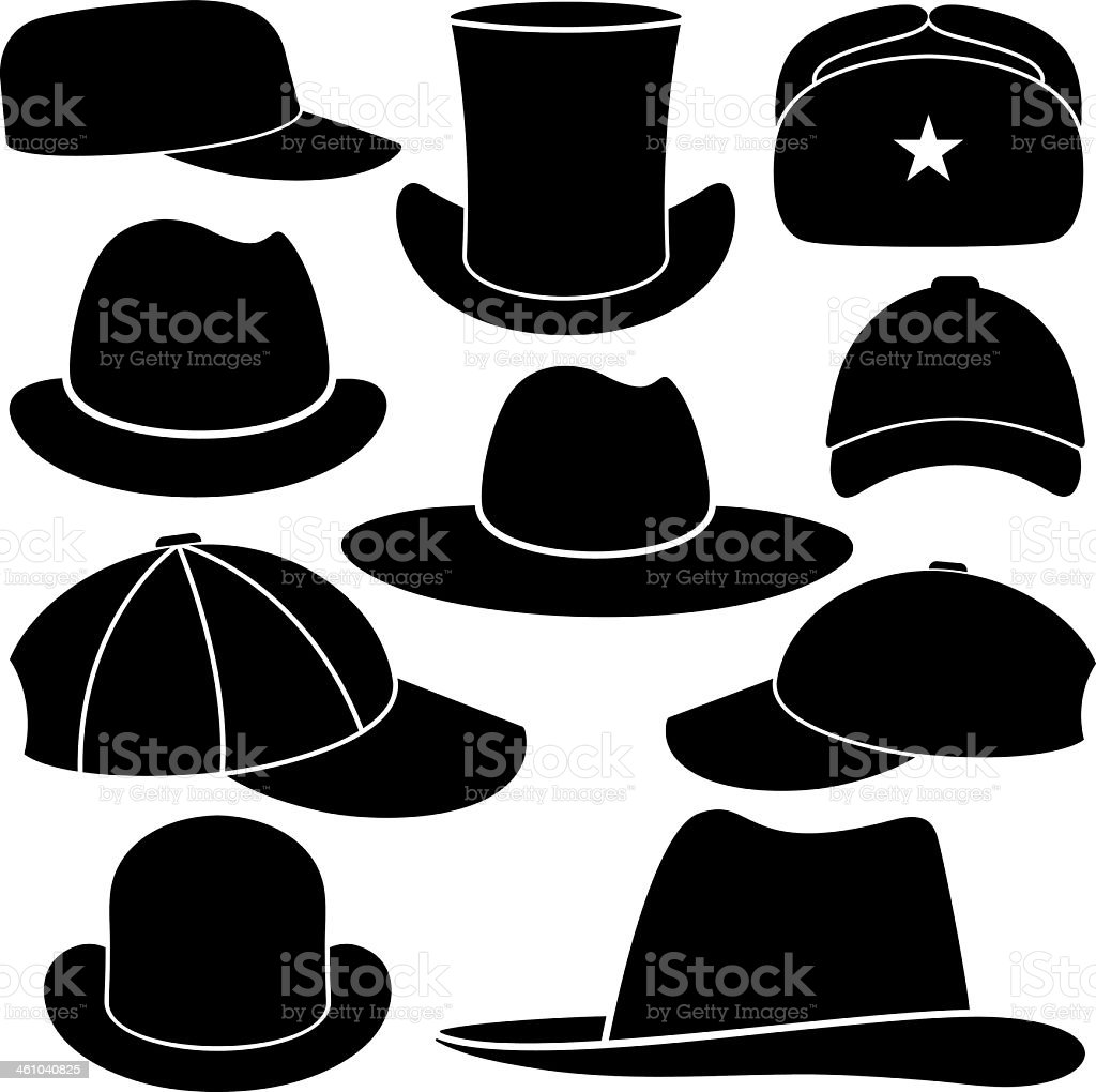 Black and white images of hats vector art illustration