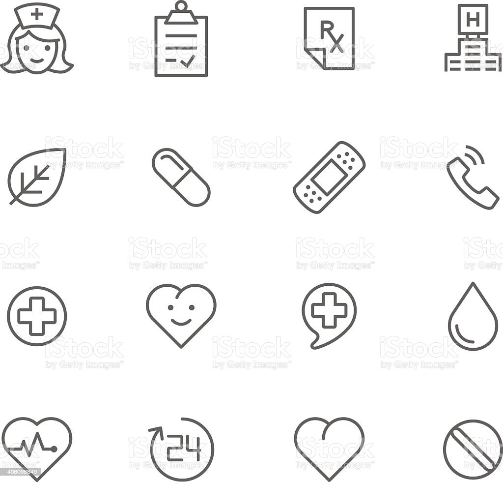 Black and white images of medicine logos vector art illustration