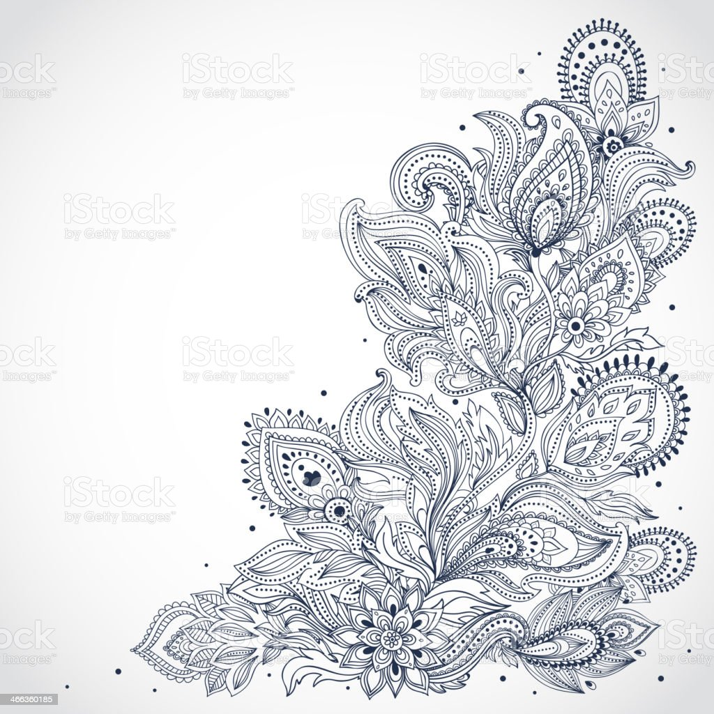 Black and white Indian floral pattern on a white background vector art illustration