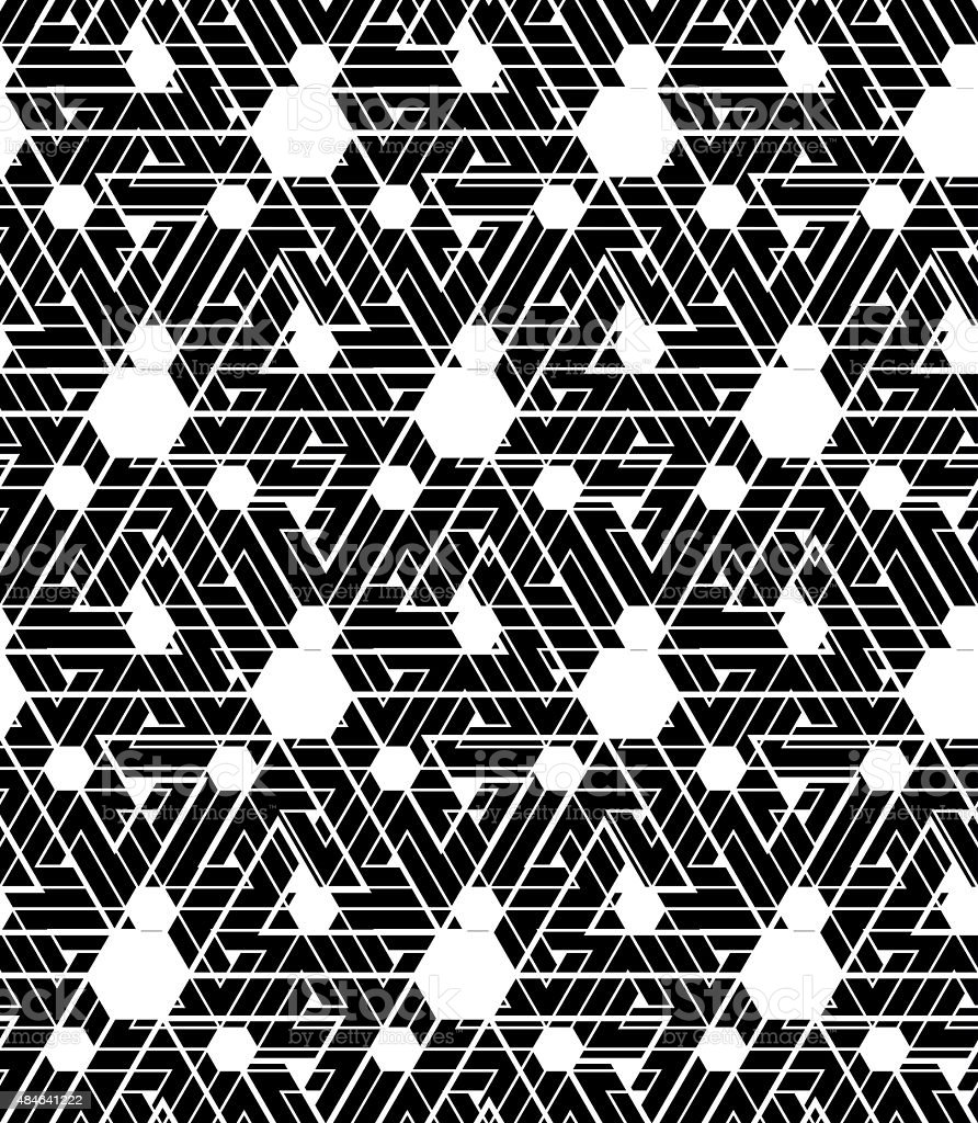 Black and white infinite motif textured pattern with hexagons, vector art illustration