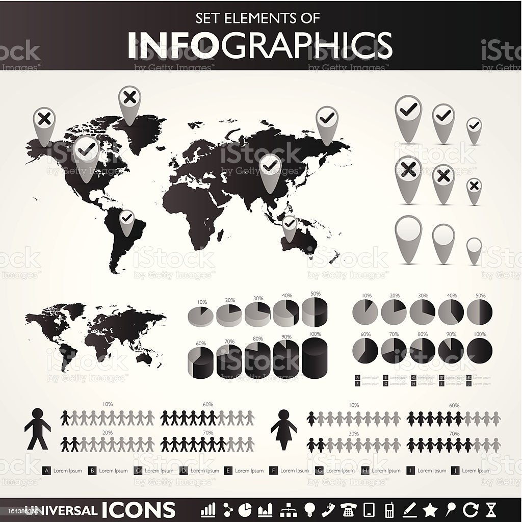 Black and white infographic set royalty-free stock vector art