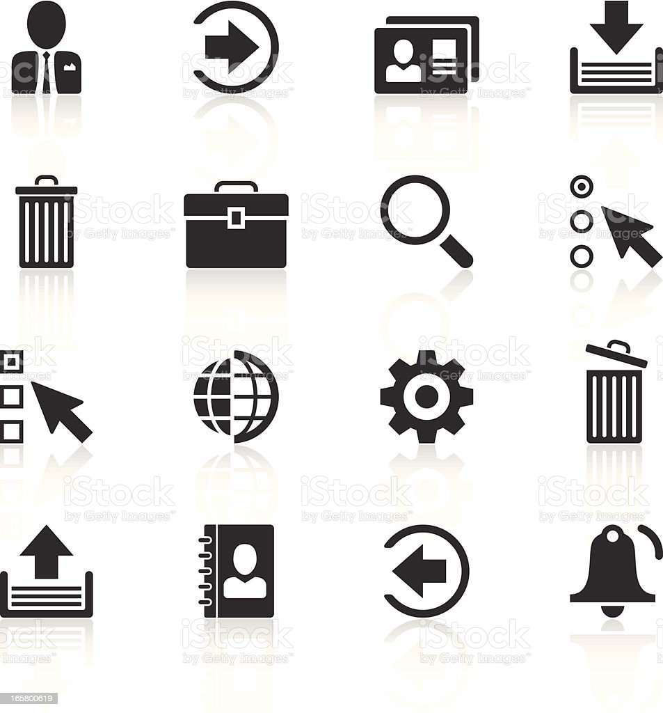 Black and white internet icon vector set with shadows vector art illustration