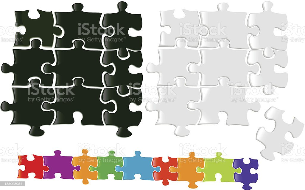 Black and white jigsaw puzzle pieces with colors below royalty-free stock vector art
