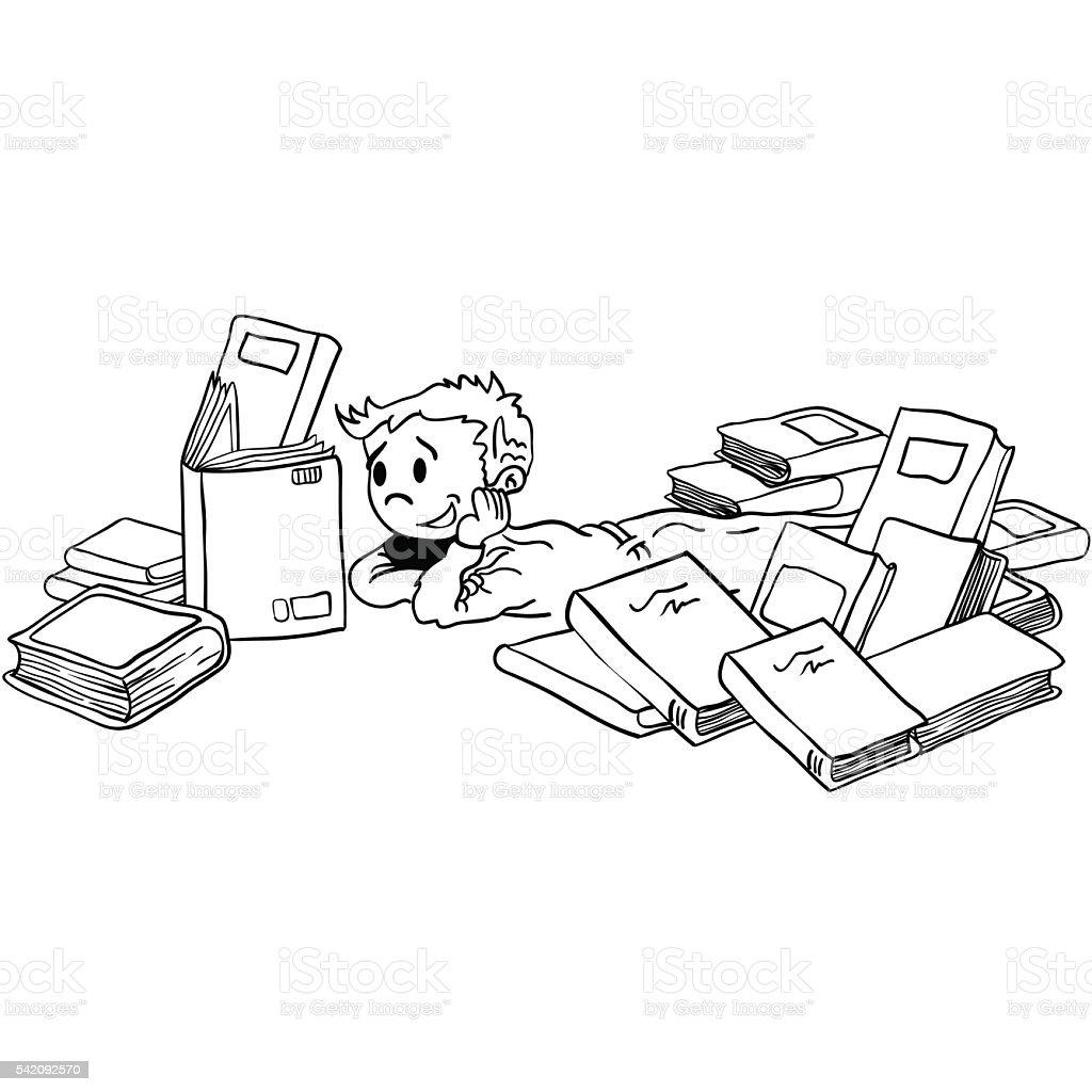 black and white kid with books vector art illustration