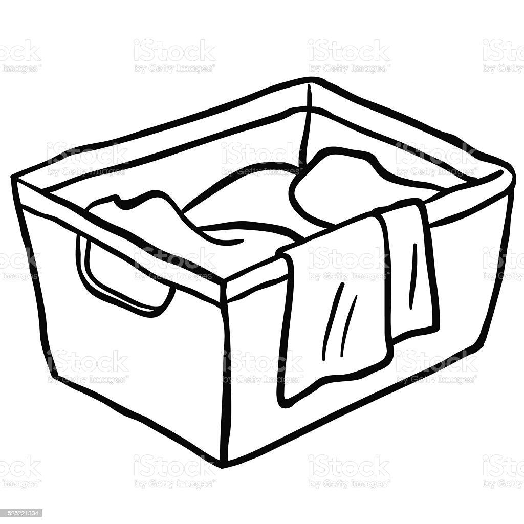 Black And White Laundry Basket Stock Vector Art 525221334