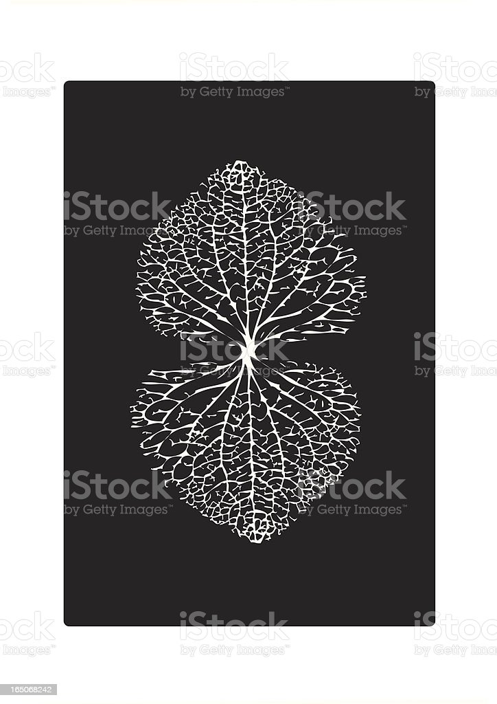 Black and White Leaf Veins Heart Pattern royalty-free stock vector art