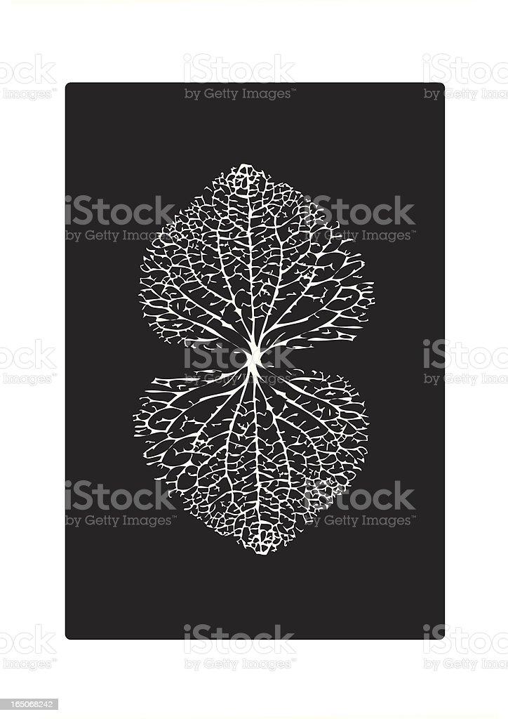 Black and White Leaf Veins Heart Pattern vector art illustration