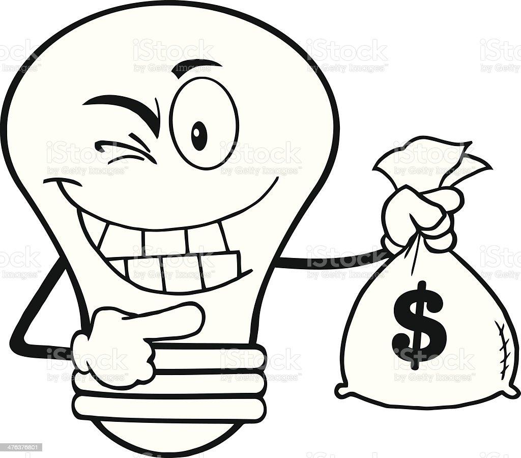 Black and White Light Bulb Holding A Bag Of Money royalty-free stock vector art