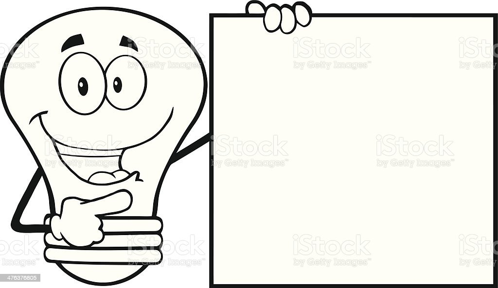 Black and White Light Bulb Showing A Blank Sign royalty-free stock vector art
