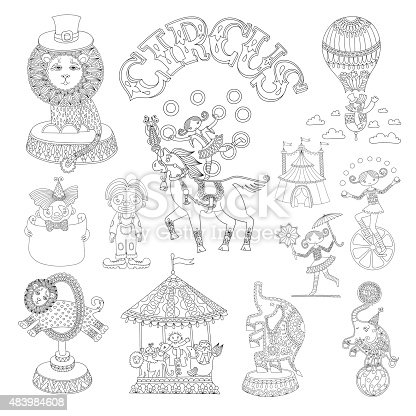Black And White Line Art Drawings Collection Of Circus