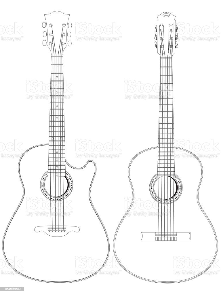 A black and white line drawing of two acoustic guitars vector art illustration