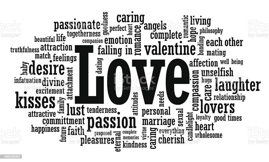 Black and white love word cloud illustration vector art illustration